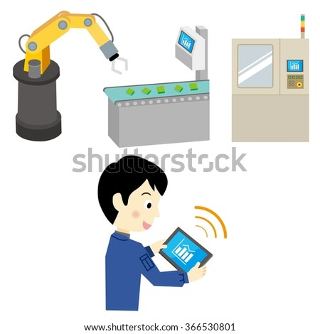 Worker man who is operating the tablet terminal at the factory - stock vector