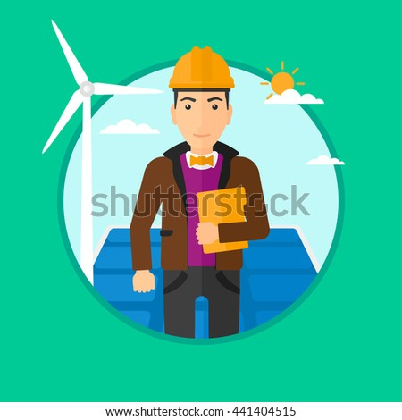 Worker of solar power plant and wind farm. Man with folder on background of solar panel and wind turbine. Green energy concept. Vector flat design illustration in the circle isolated on background. - stock vector