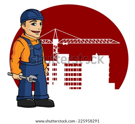 Worker on building site for construction industry design - stock vector