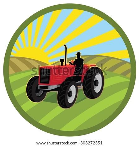 WORKER ON FARM TRACTOR PLOWING FIELD - stock vector