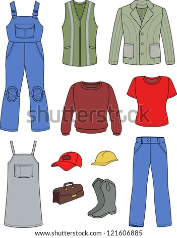 Worker, plumber man, woman colored fashion set isolated on white background