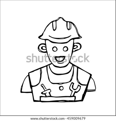 worker professional or engineer with helmet character avatar icon symbol sketch  vector illustration, for industry business design