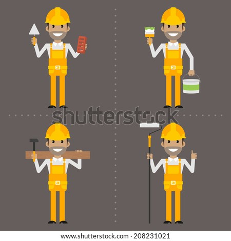 Worker specialist builder painter carpenter with tool - stock vector