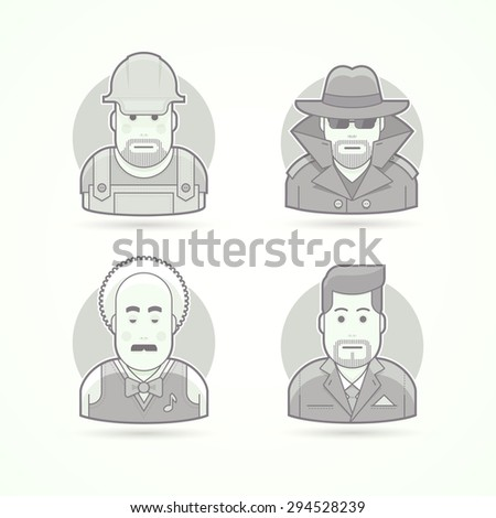 Worker, spy, musician and suit man icons. Avatar and person illustrations. Flat black and white outlined style. - stock vector