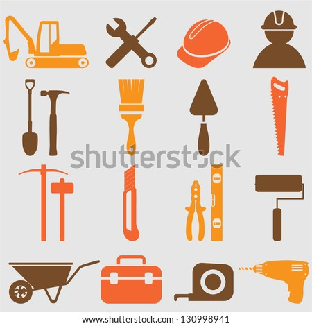 Worker tools icons .Vector - stock vector
