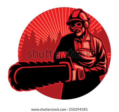 worker using the chainsaw - stock vector