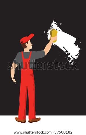 Worker washing wall. - stock vector