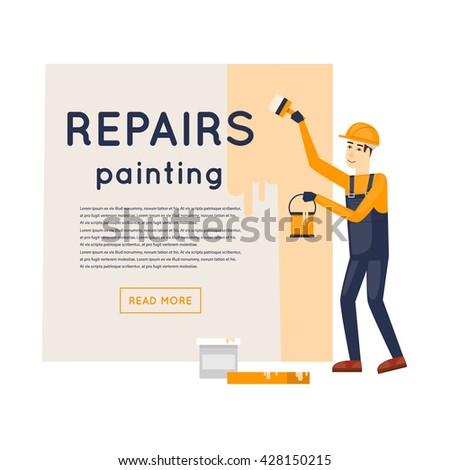 Worker with brush and paint painting the wall. Repair, construction, painting. Character. Flat style vector illustration. - stock vector