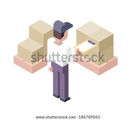 Worker with document in hand is checking cargo