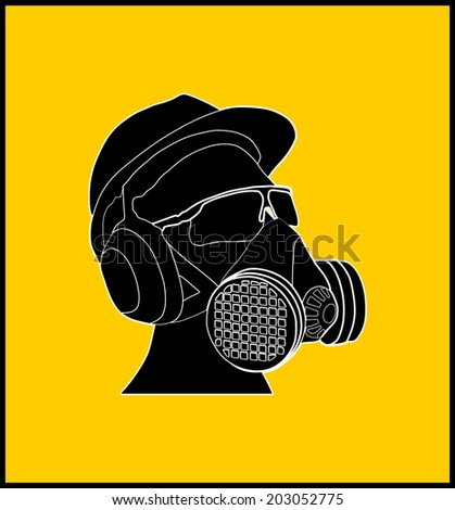 worker with helmet, gas mask and protect glasses vector isolated on yellow background. - stock vector