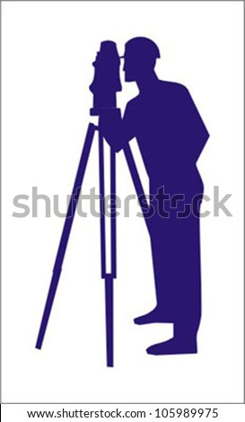 worker with the theodolite - stock vector