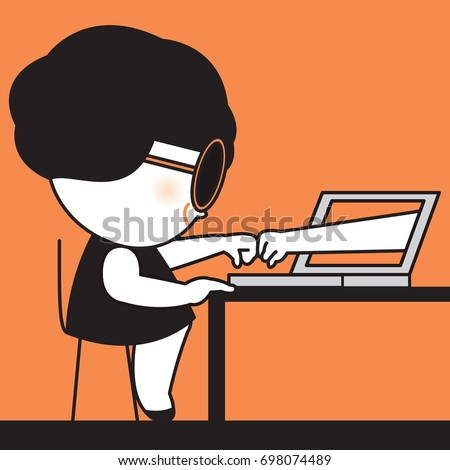 Worker Woman Fist Bumping, Touching Knuckles, Punching Human Hands Popping Coming Out Of A Computer Laptop Monitor Screen In Agreement, Partnership And Cooperation Concept Card Character illustration