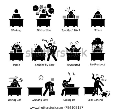Worker working very stressful office workplace stock vector same artist worker working in a very stressful office workplace the employee is distracted having too sciox Image collections
