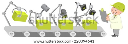Workers at the factory operation. Quality control. - stock vector