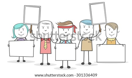 Workers holding a protest with the board - stock vector