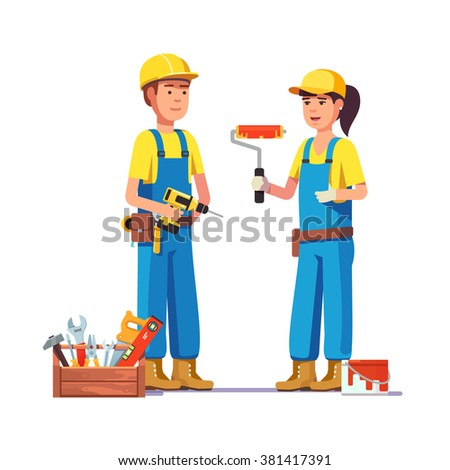 Workers in uniform. Painter and carpenter craftsman. Flat style modern vector illustration. - stock vector