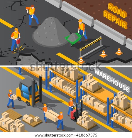 Workers Isometric Concept. Road Workers Horizontal Banners. Construction Workers Vector Illustration. Warehouse Workers Set. Workers Design Symbols.Workers Elements Collection - stock vector