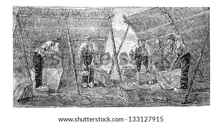 Workers Making Marble Tiles, vintage engraved illustration. Industrial Encyclopedia - E.O. Lami - 1875 - stock vector