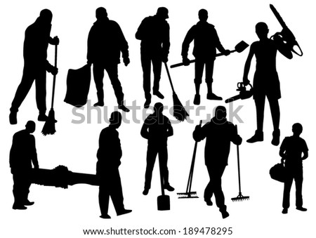 Workers People Silhouettes Set - stock vector