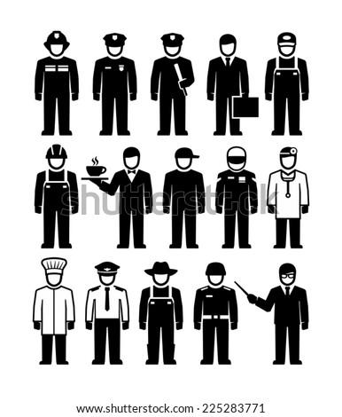 Workers professions vector figure pictogram  - stock vector