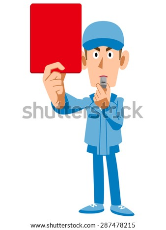 Workers showing the red card - stock vector