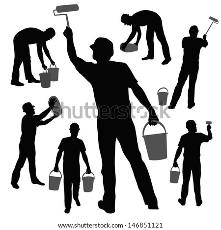 workers silhouettes collection - stock vector