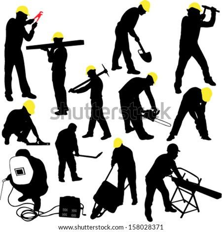 workers silhouettes collection - vector - stock vector