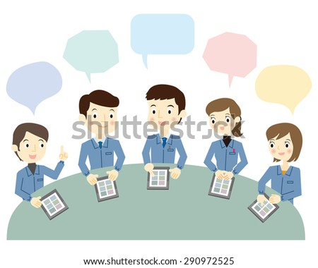 Workers to a meeting using the tablet terminal - stock vector