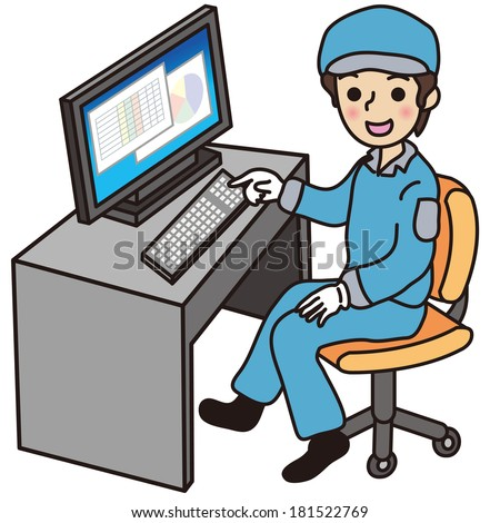 Workers to a personal computer - stock vector
