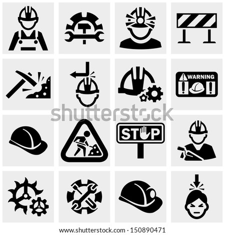 Workers vector icons set on gray.