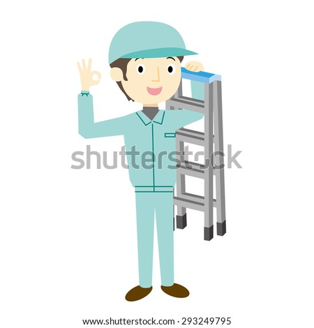 Workers with a stepladder - stock vector