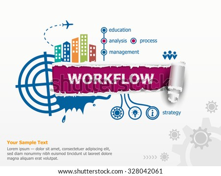 Workflow design concept and breakthrough paper hole with ragged edges with a space for your message.  - stock vector