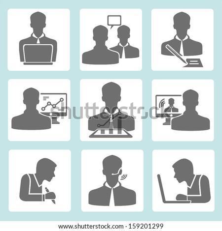working business man set - stock vector