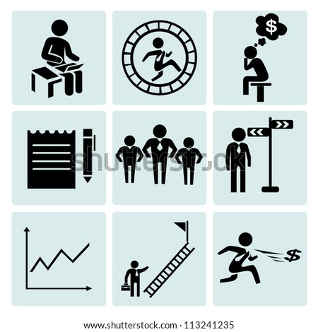 working, business management, office icon set - stock vector
