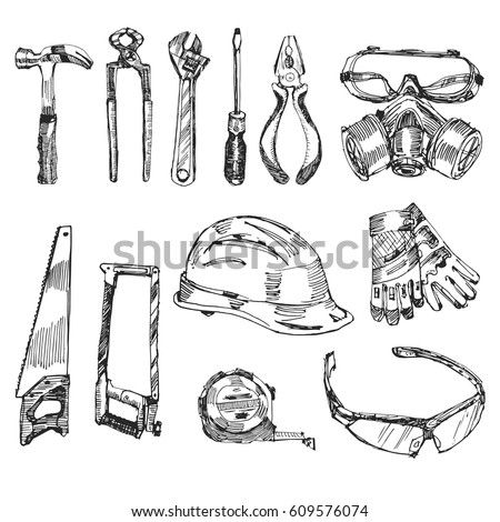 Working construction tools set hand drawn stock vector for Draw tool free