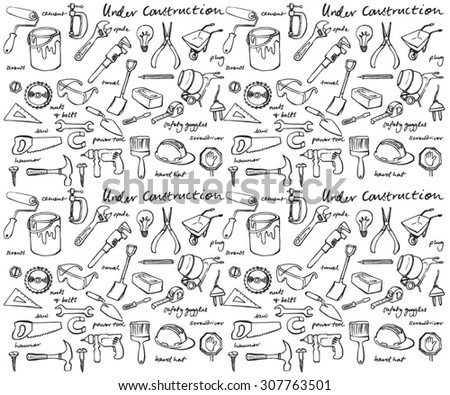 Working construction tools vector seamless background - stock vector