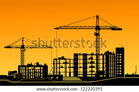 Working cranes on building for construction industry design. Jpeg version also available in gallery - stock vector