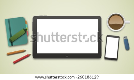 Working desk with an empty blank tablet PC screen and a white screen smartphone. Eps10 vector workplace illustration. - stock vector