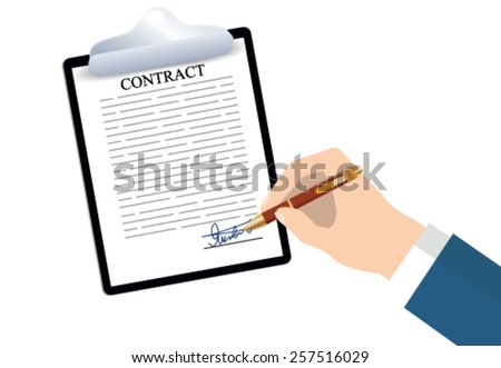 Working environment. Sign a contract - stock vector