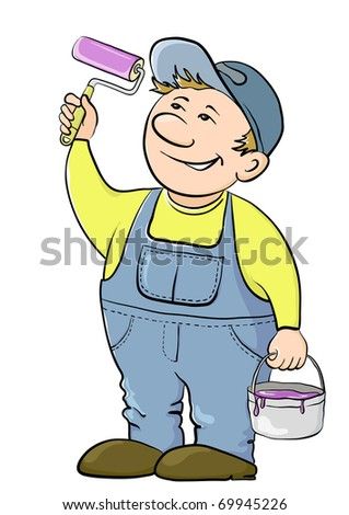 Working house painter paints, in hands at it the tool and a bucket with a paint - stock vector