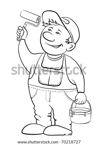 Working house painter paints, in hands at it the tool and a bucket with a paint, contour - stock vector
