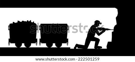 Working miner - stock vector
