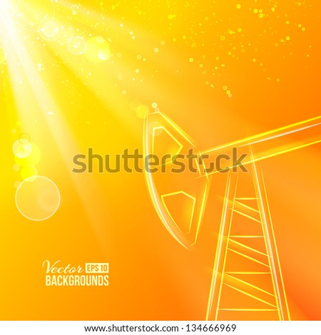 Working oil pump at sunset. Vector illustration, contains transparencies, gradients and effects. - stock vector