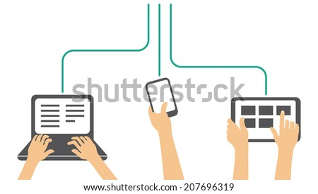 working on all types of devices - laptop, phone, tablet - vector illustration - stock vector