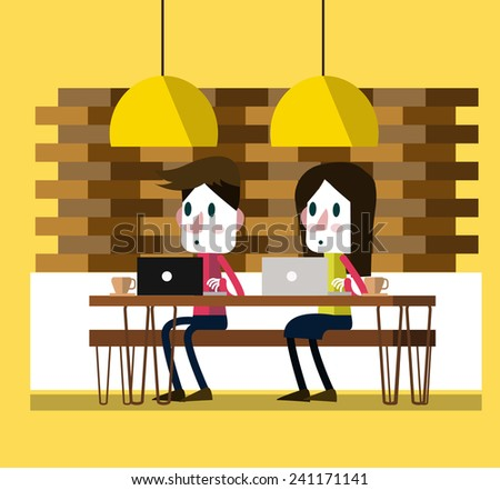 Working on laptop at coffee bar. modern lifestyle. flat design character. vector illustration - stock vector