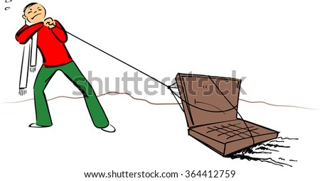 Working on PC, slow and heavy, funny vector image - stock vector