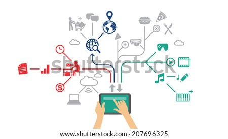 Working on tablet / mobile apps - technology vector background - stock vector