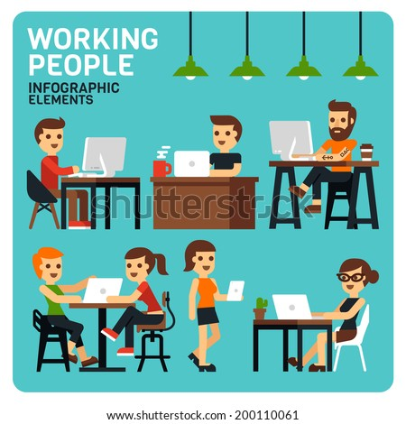 Working People Infographic Elements - stock vector