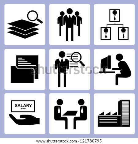 working pictogram and human resource management icon set, vector