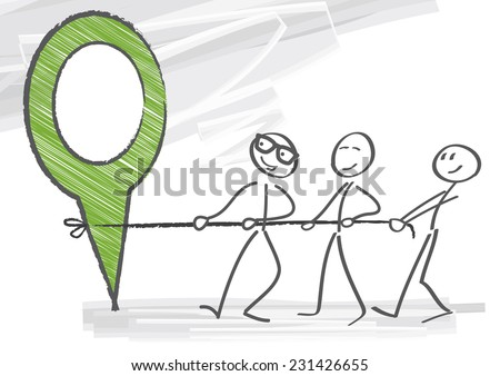 Working together to achieve goals - stock vector